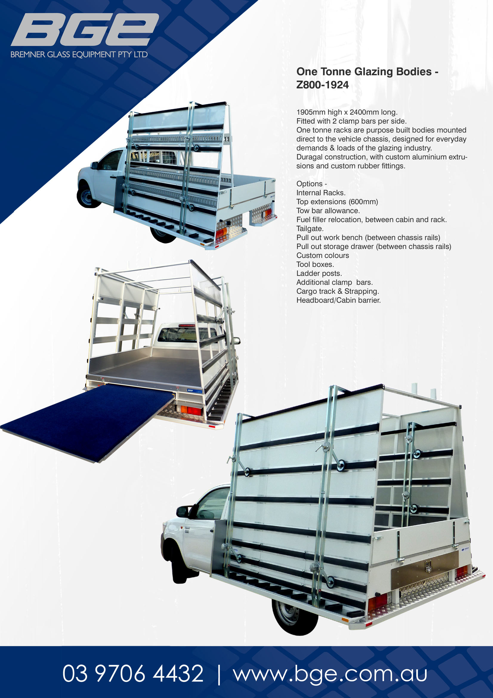 BGE, One Tonne Glazing Rack - Spec Sheet
