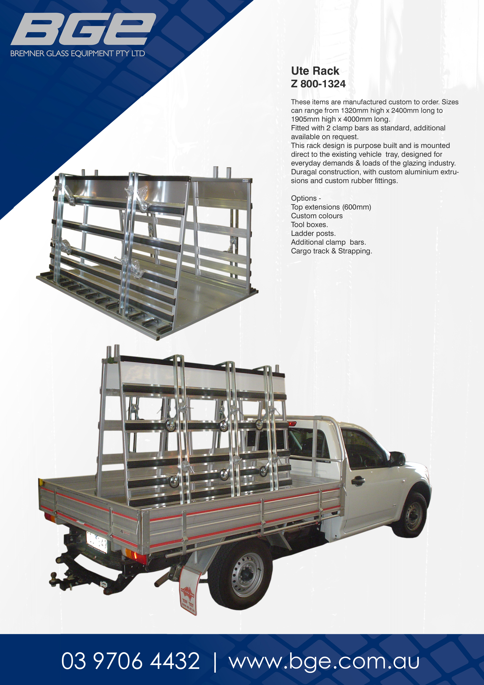 BGE, Z 80-1324 Ute Rack - Spec Sheet