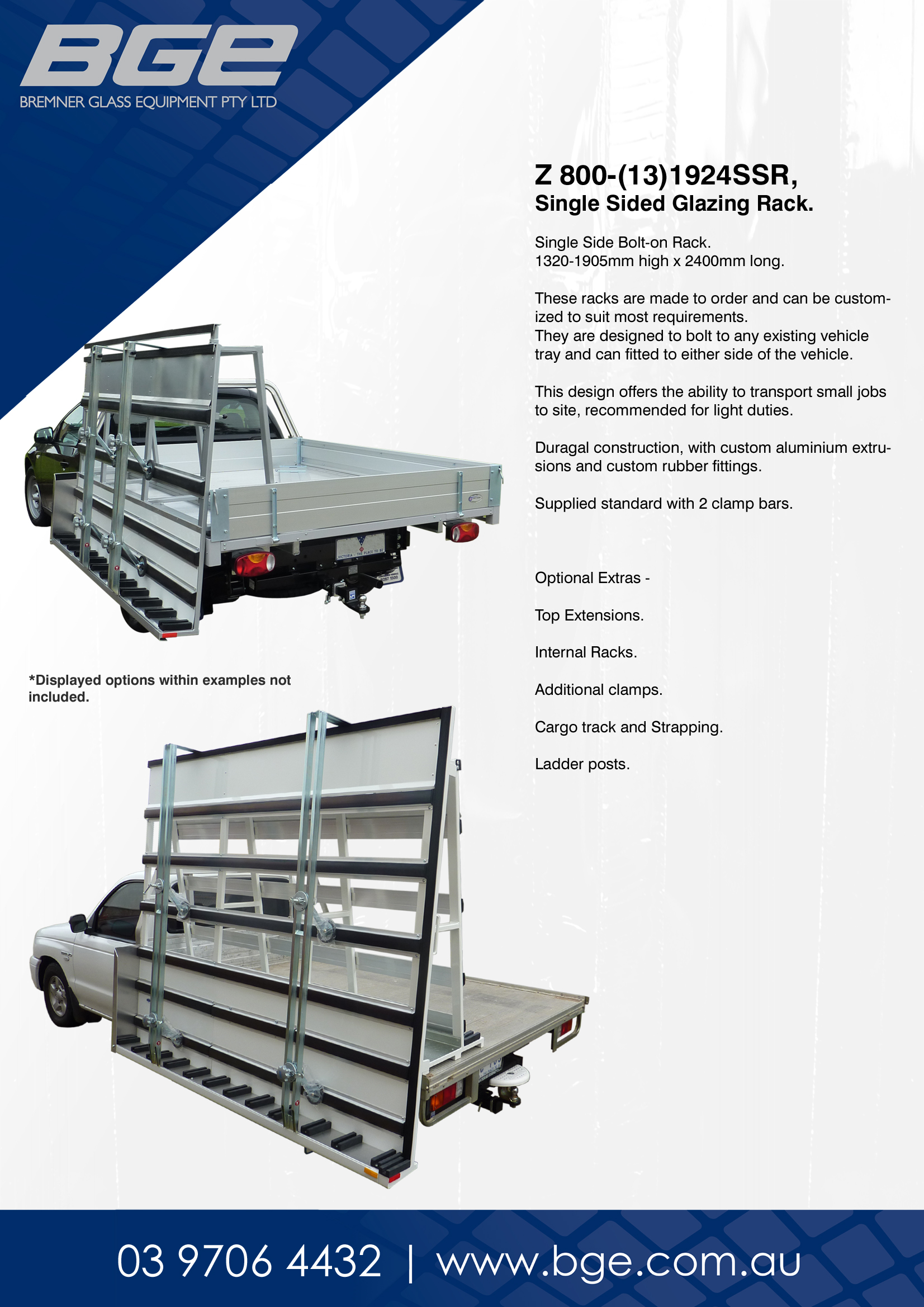 BGE, Z 800-13-1924SSR, Single Side Glazing Racks - Spec Sheet