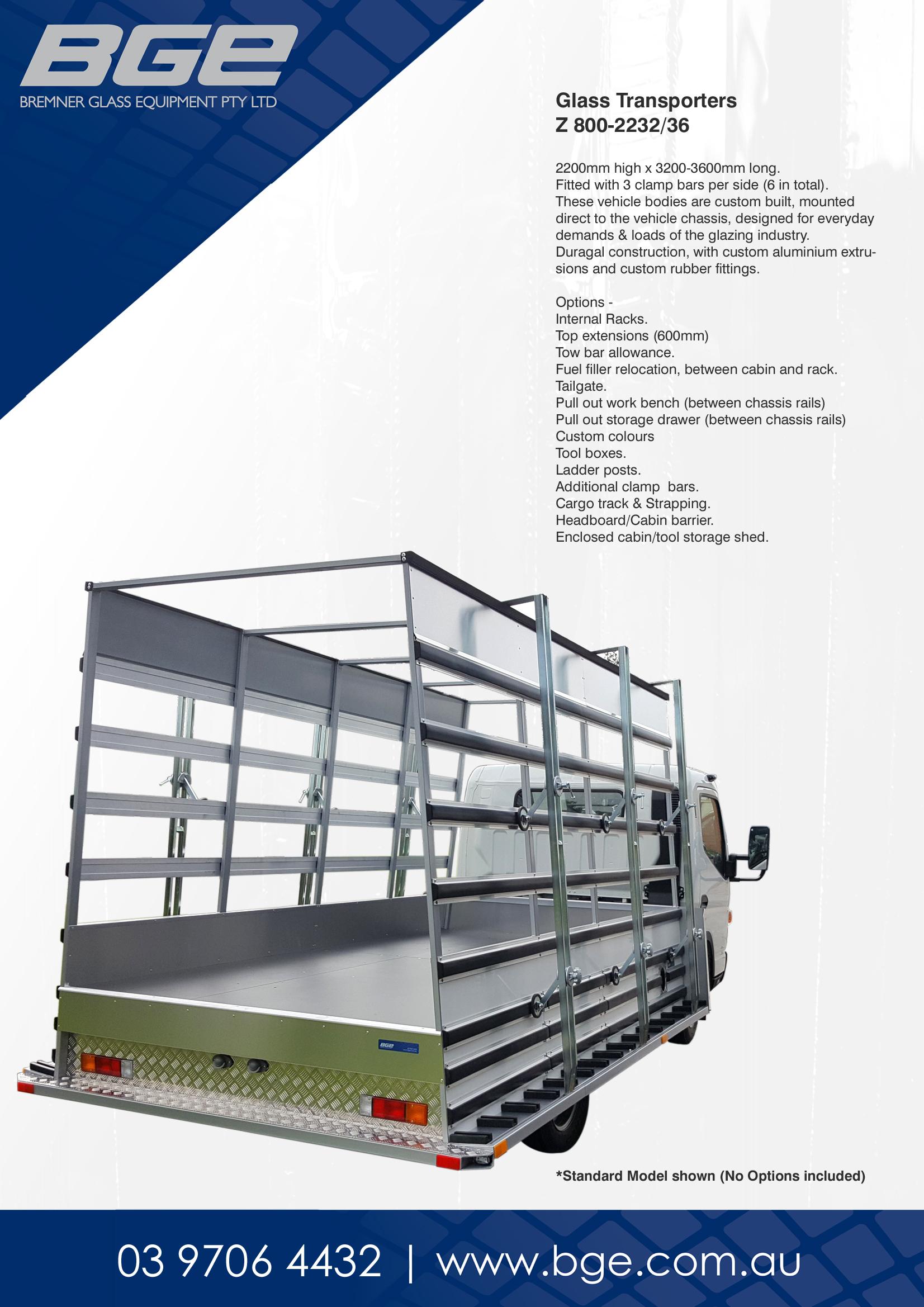 BGE, Z 800-2232-36 Glazing Truck - Spec Sheet